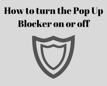 How to turn the pop-up blocker on or off