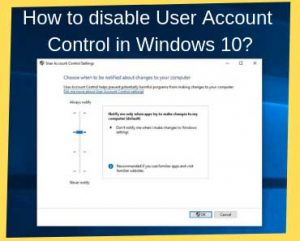 How to turn off the User Account control